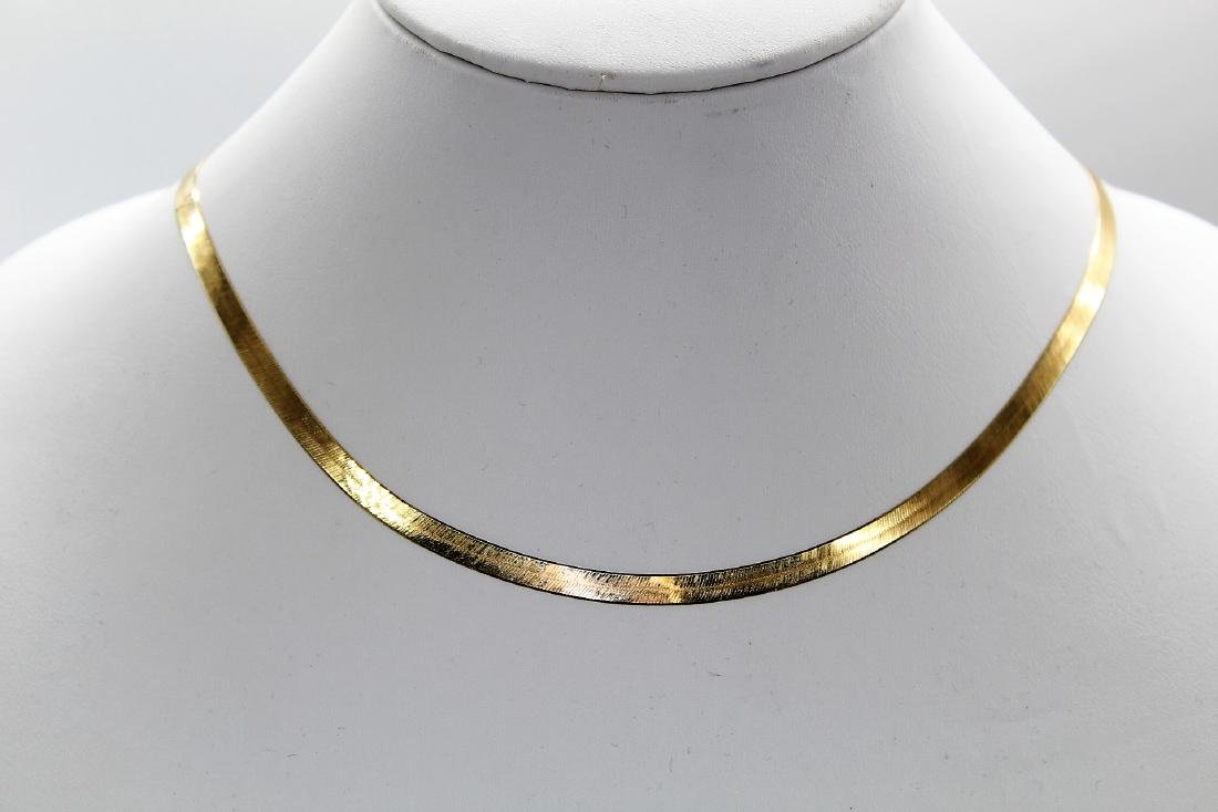 Designer Aura Fin 14K Yellow Gold Herringbone Necklace