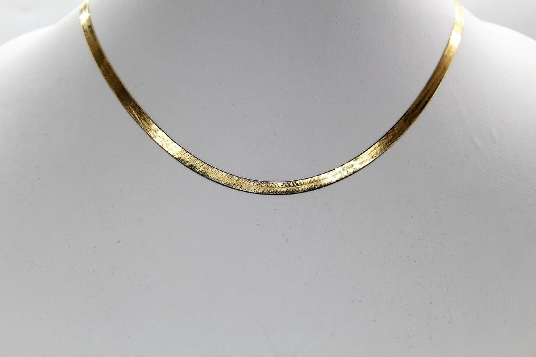 Designer Aura Fin 14K Yellow Gold Herringbone Necklace - 2