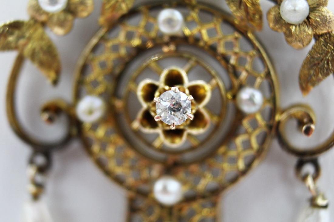 Marvelous Georgian Euro Cut Diamond and Pearl Drop in - 2
