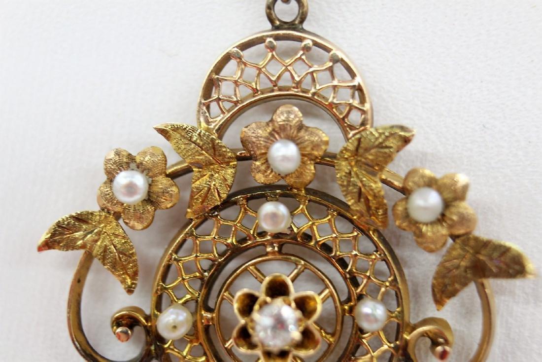 Marvelous Georgian Euro Cut Diamond and Pearl Drop in - 4