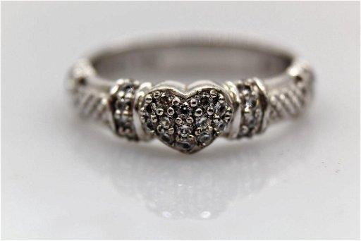 Designer Judith Ripka Signed 925 CZ Heart Wedding Band - Feb