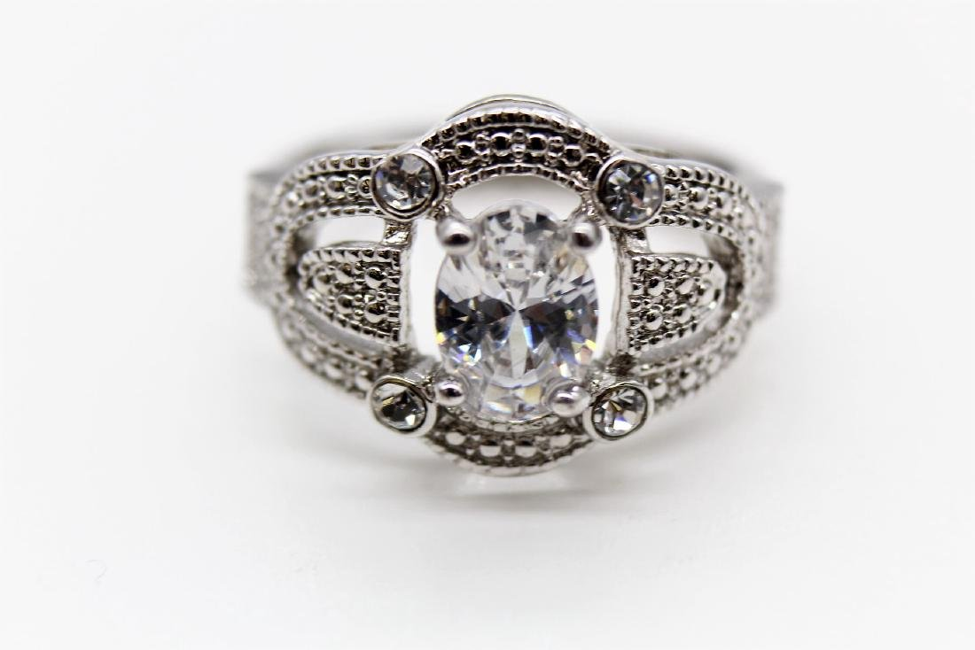 Intricate Oval-Cut Platinum Over Sterling Wedding Ring