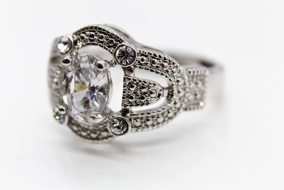 Intricate Oval-Cut Platinum Over Sterling Wedding Ring - 2