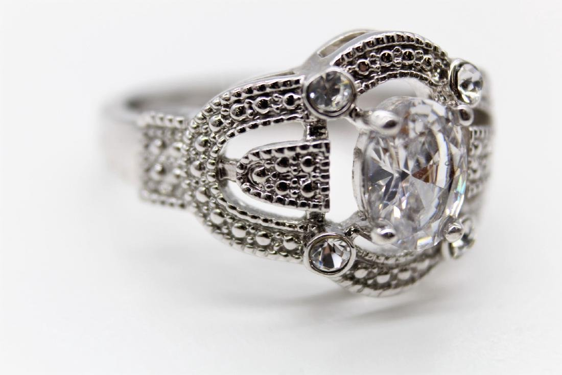 Intricate Oval-Cut Platinum Over Sterling Wedding Ring - 3