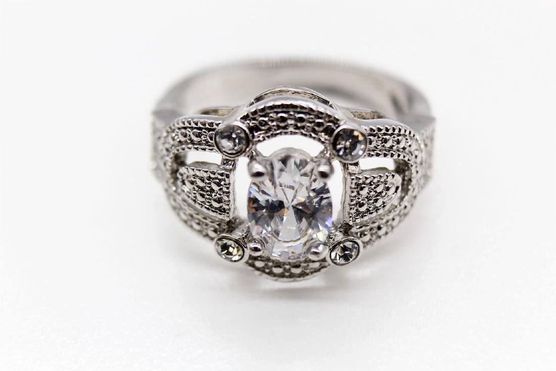 Intricate Oval-Cut Platinum Over Sterling Wedding Ring - 4