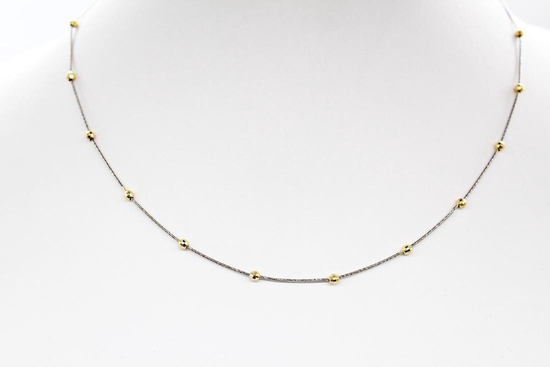 Italian Polished 14k WG Rope Chain Necklace w/ 14k YG
