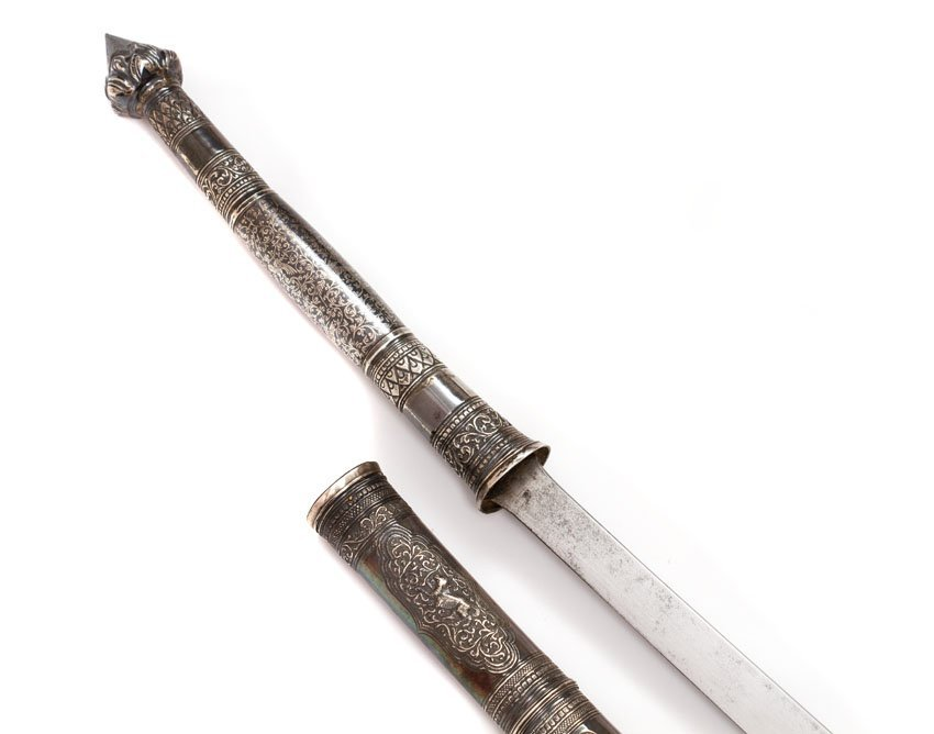 SILVER MOUNTED DHA SWORD, 19TH C. - 7