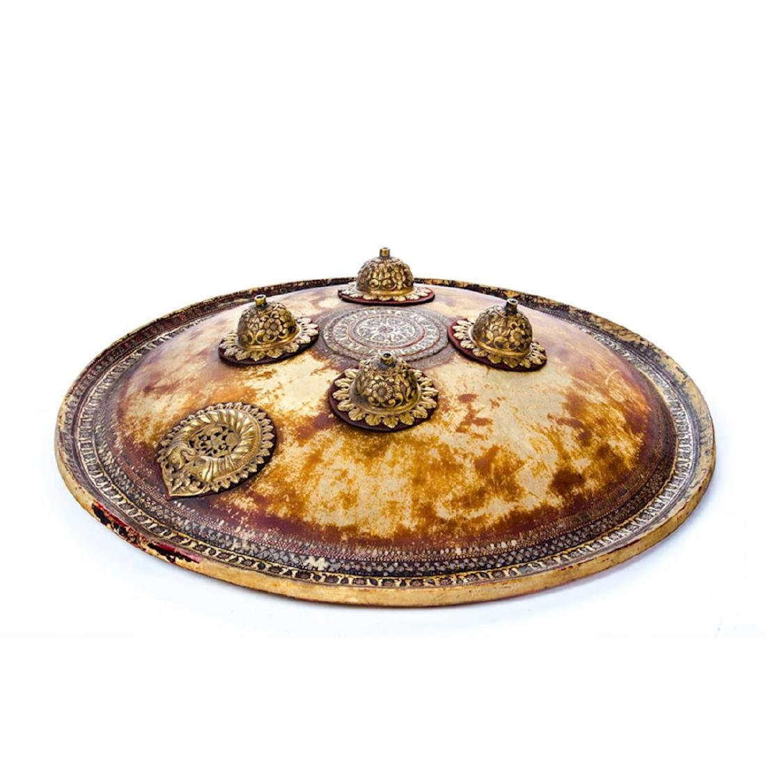 INDIAN HAND PAINTED DHAL SHIELD, 19TH C. - 2