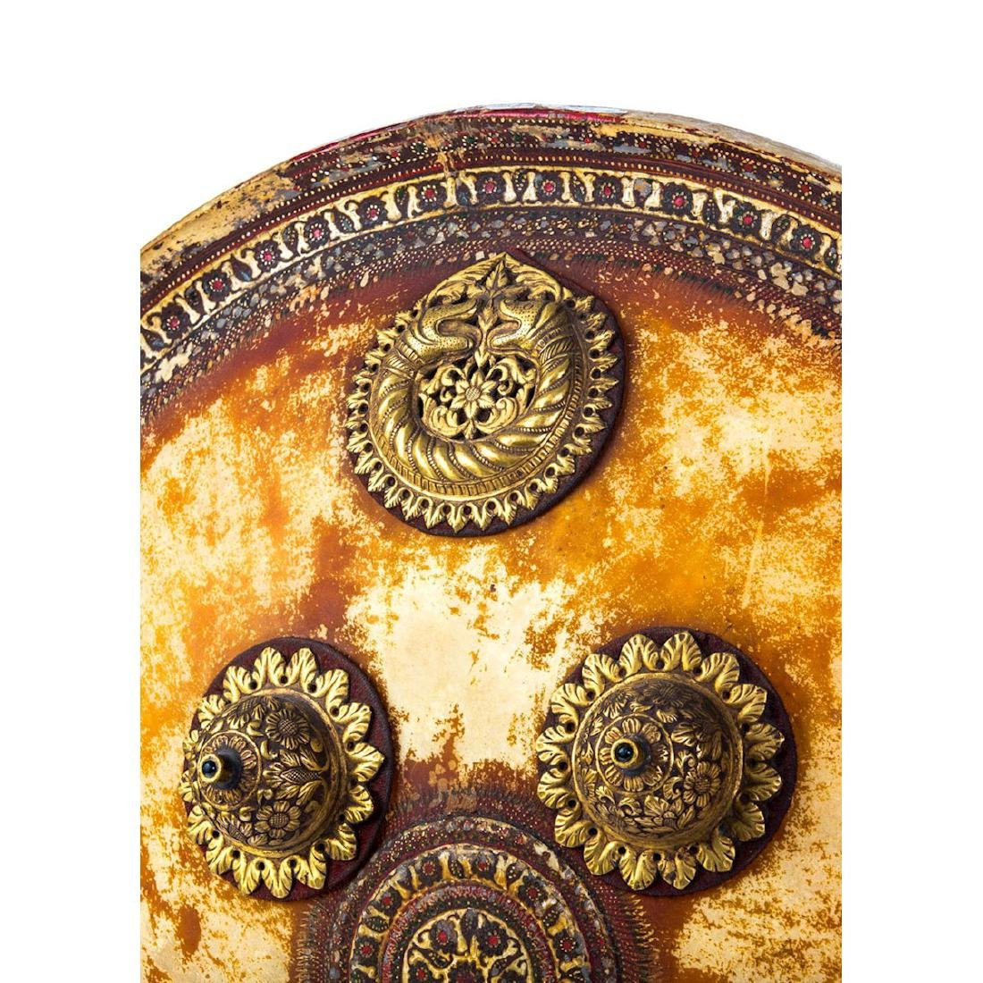 INDIAN HAND PAINTED DHAL SHIELD, 19TH C. - 5