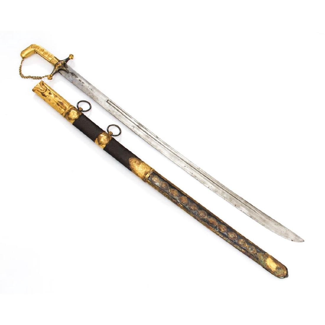 PRESENTATION SAIF SWORD WITH GOLD MOUNTS