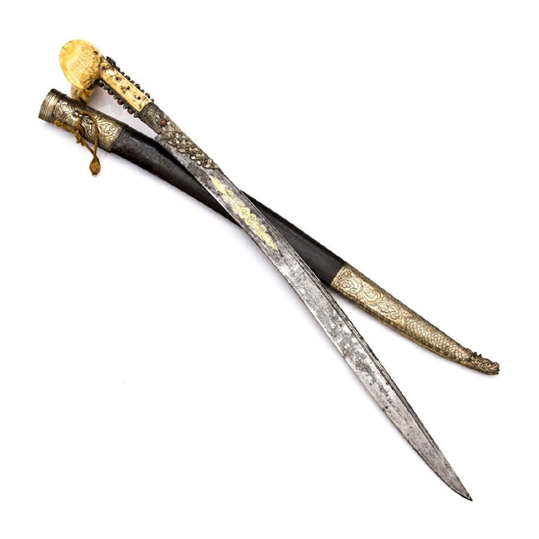TURKISH YATAGAN SWORD WITH GOLD INLAY - 5