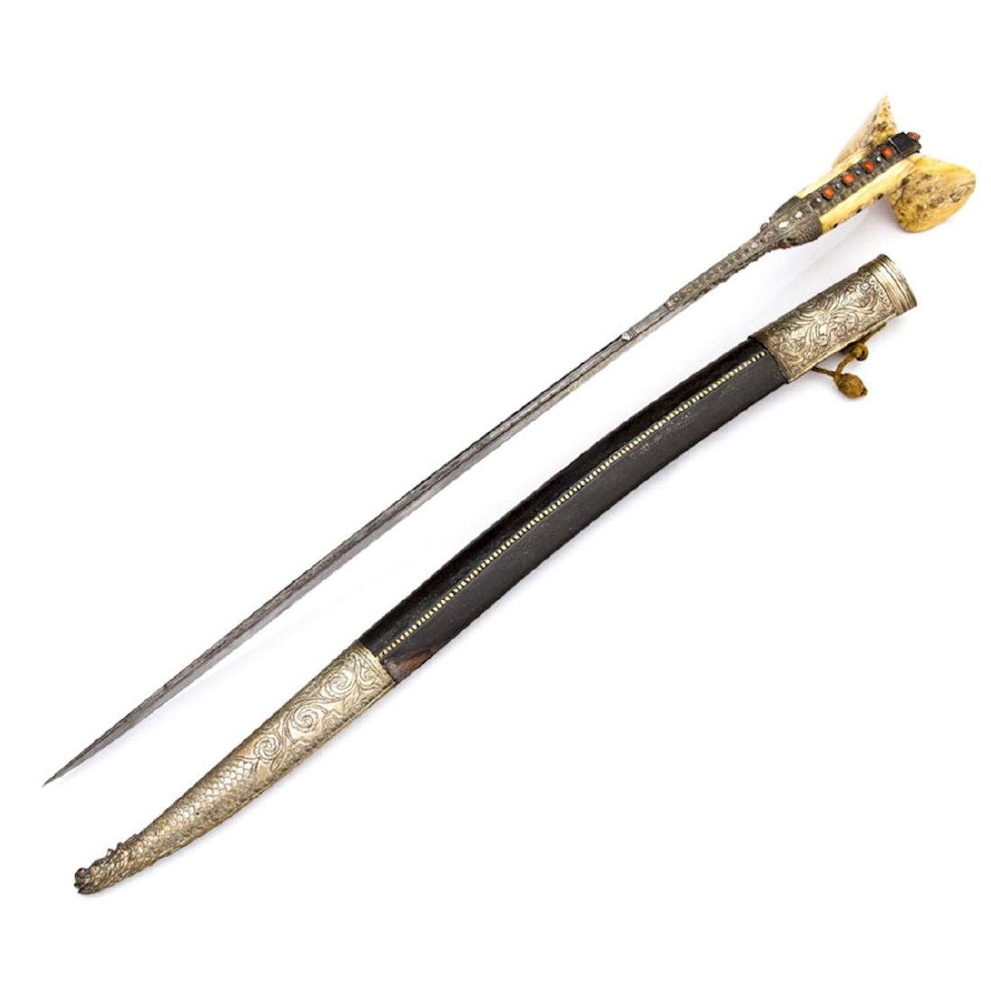 TURKISH YATAGAN SWORD WITH GOLD INLAY - 7