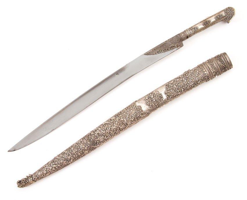SILVERM MOUNTED TURKISH YATAGAN SWORD, 19TH C. - 2