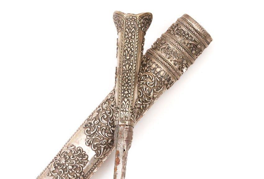 SILVERM MOUNTED TURKISH YATAGAN SWORD, 19TH C. - 8