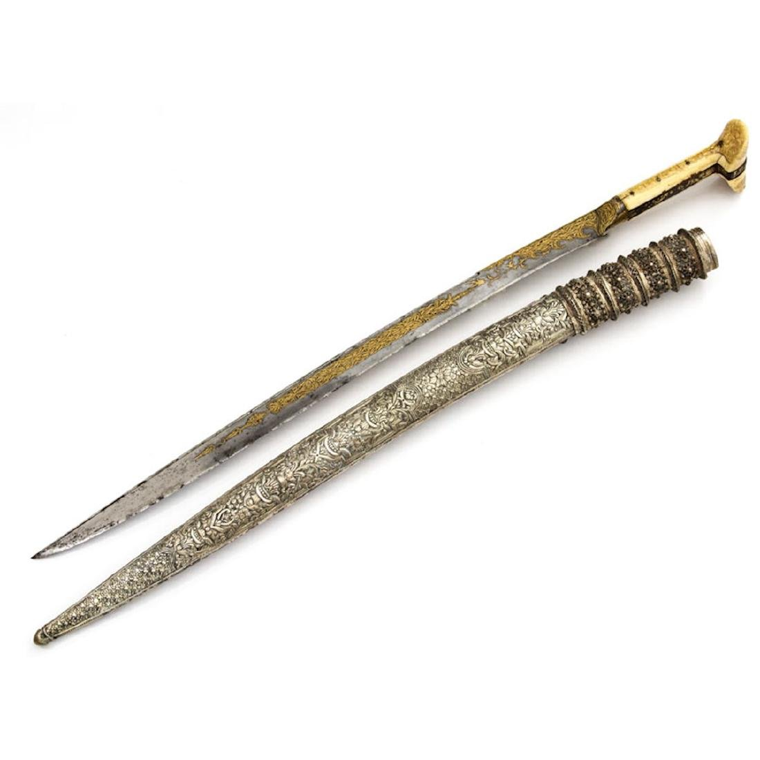 OTTOMAN YATAGAN SWORD WITH GOLD INLAY, 19 C. - 5