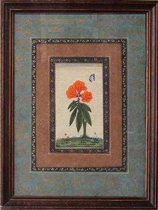 INDIAN MINIATURE PAINTING WITH FLOWER