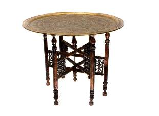 ISLAMIC TABLE KURSI W SILVER AND COPPER INLAY CAIROWARE