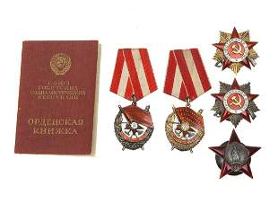 DOCUMENTED GROUP OF FIVE RUSSIAN SOVIET ORDERS