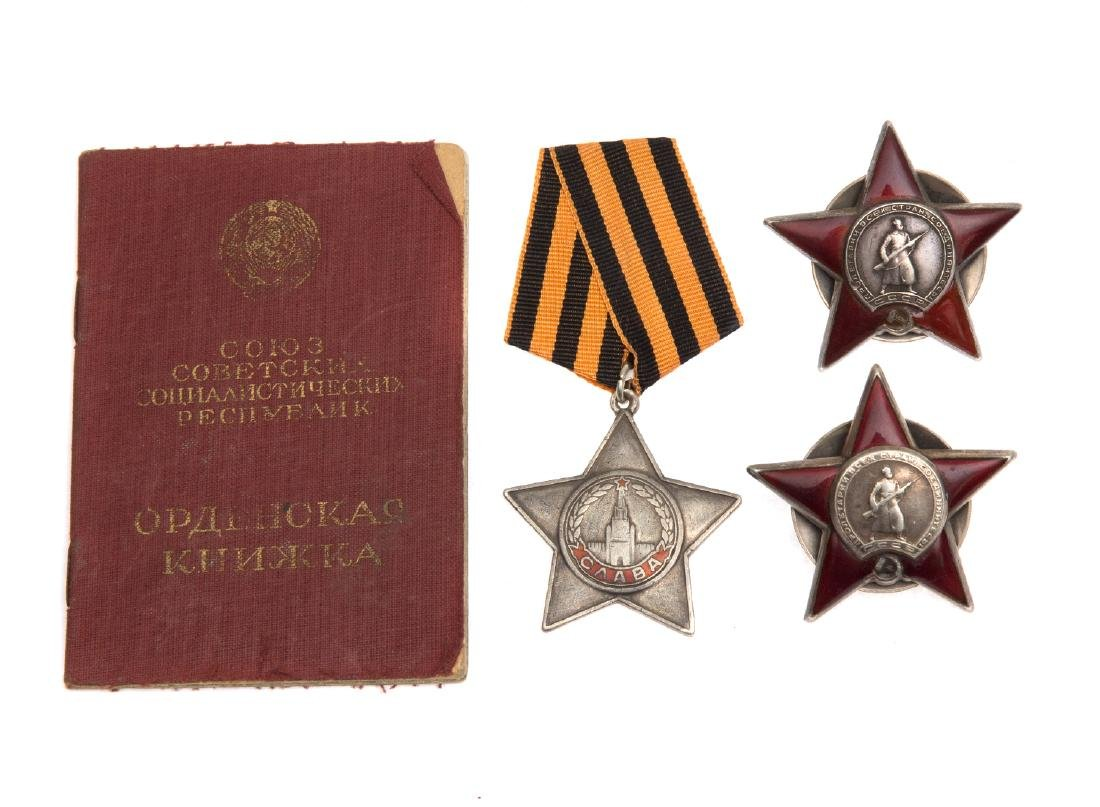 GROUP OF SOVIET ORDERS OF RED STAR, AND ORDER OF GLORY