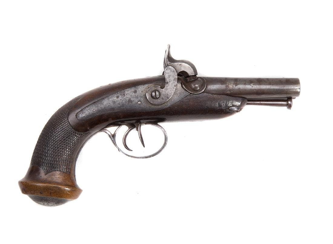 FRENCH DOUBLE BARREL PERCUSSION PISTOL, 19TH C.