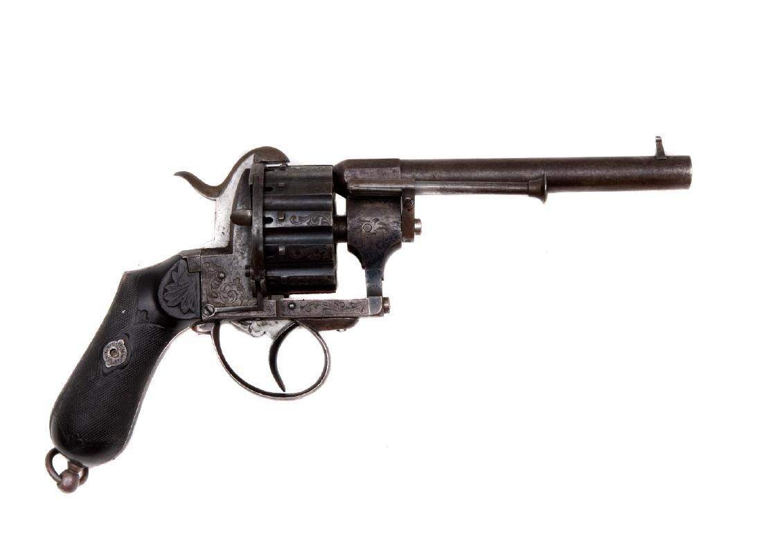 J. CHAINEUX BREUETE 12 SHOT PINFIRE REVOLVER, 19TH CEN.