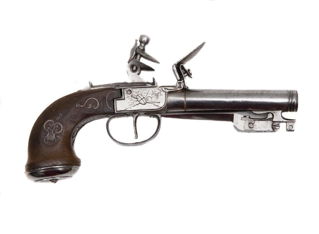 EUROPEAN FLINTLOCK PISTOL WITH A FOLDING BAYONET, 19TH