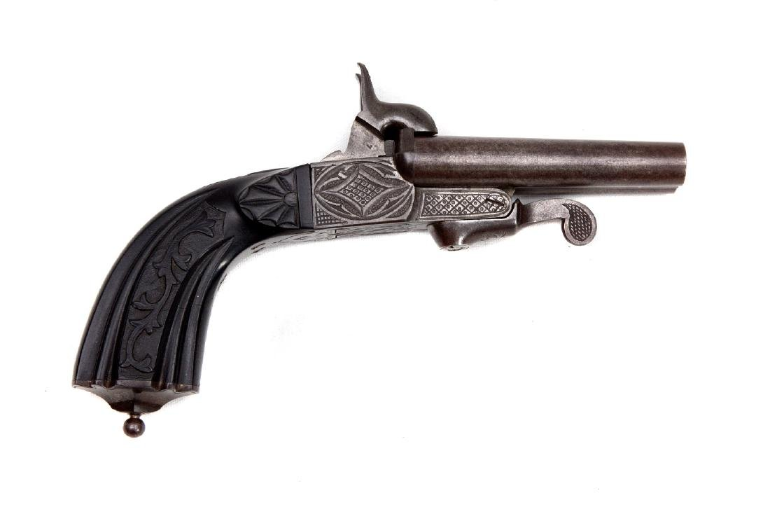 FRENCH DOUBLE BARREL PERCUSSION PISTOL BY P. BERJAT