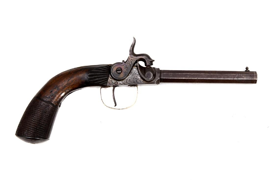RARE EUROPEAN PERCUSSION PISTOL, 19TH CEN.