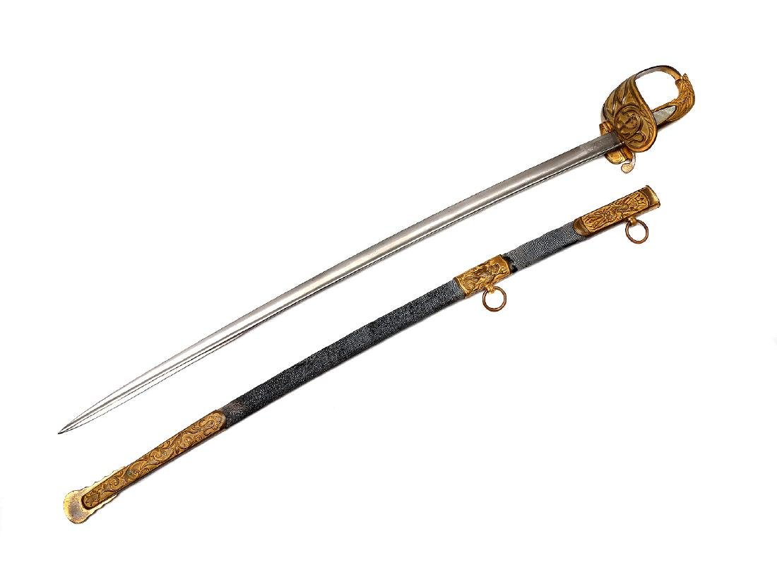 DANISH NAVAL OFFICER'S GILT DRESS SWORD, 19TH C. - 2