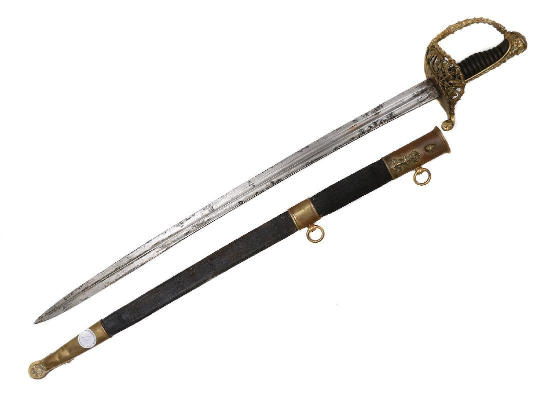 FRENCH M. 1854 SECOND EMPIRE NAVAL OFFICER'S SWORD