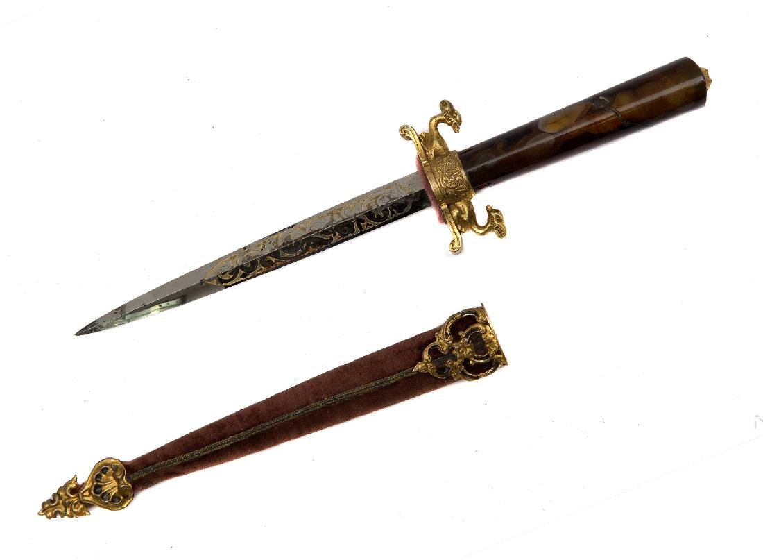 REMARKABLE STILETTO DAGGER WITH FIRE GILT DECORATION,