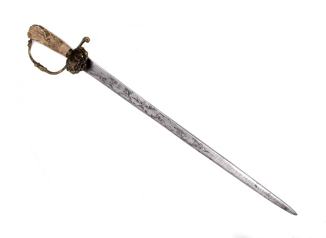 18TH CEN. GERMAN HUNTING SWORD WITH CURVED GRIP