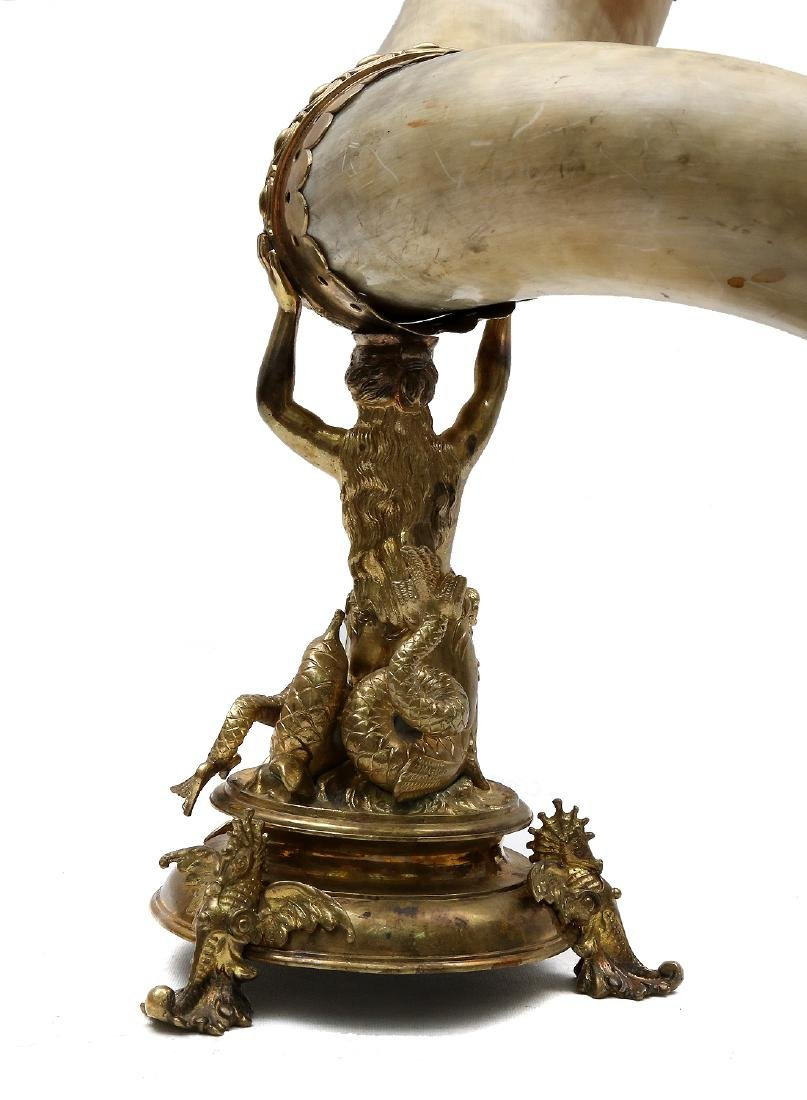 GERMAN PRESENTATION GILDED HORN, 19TH C. - 4