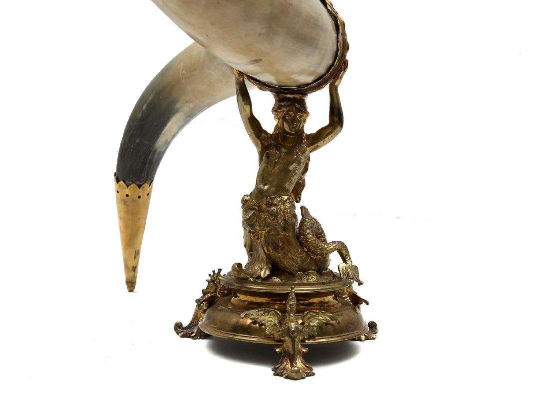GERMAN PRESENTATION GILDED HORN, 19TH C. - 5
