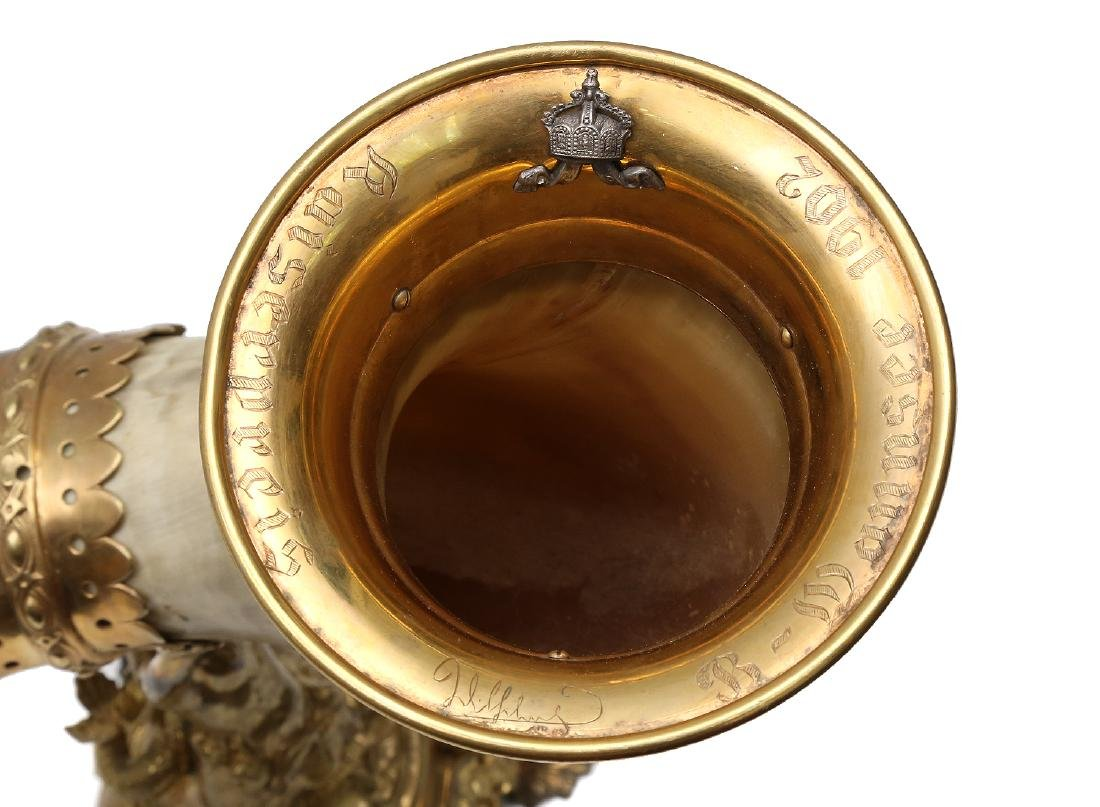 GERMAN PRESENTATION GILDED HORN, 19TH C. - 6