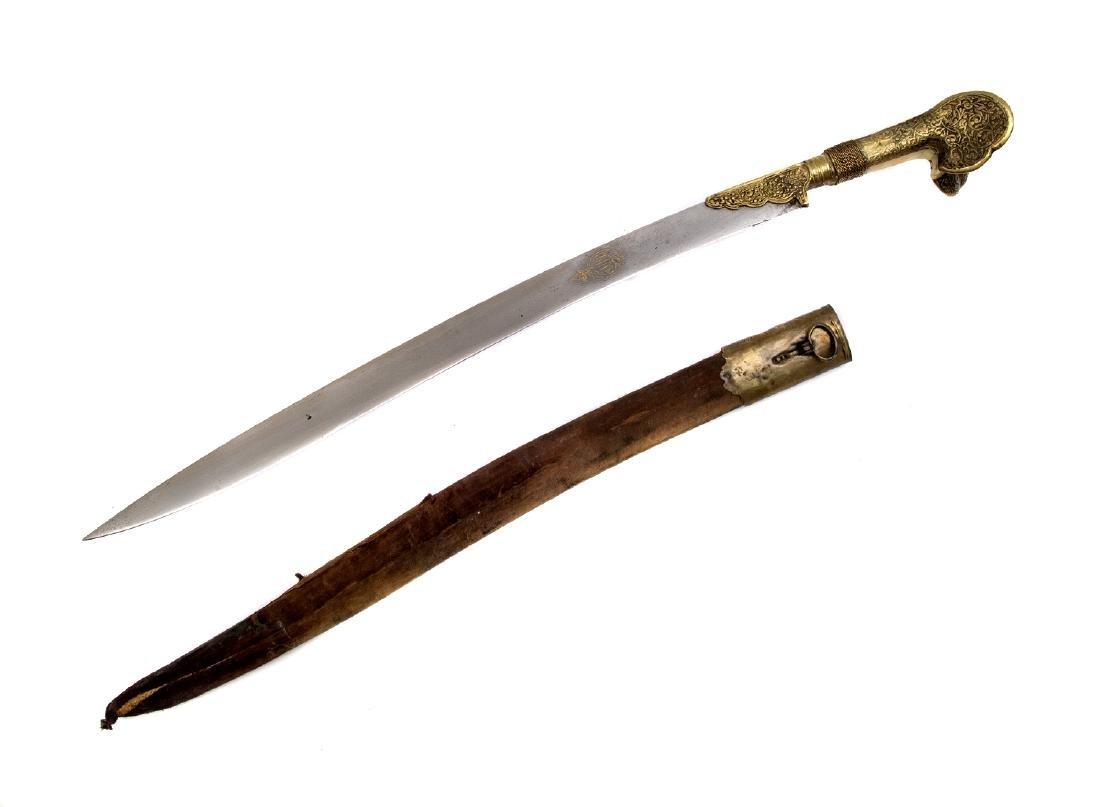 19TH C. GILT OTTOMAN TURKISH YATAGAN SWORD