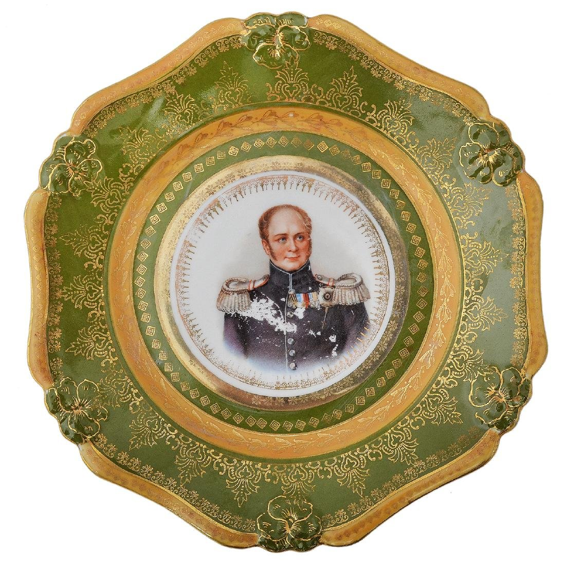 RUSSIAN PORCELAIN CHARGER EMPEROR WITH EMPEROR