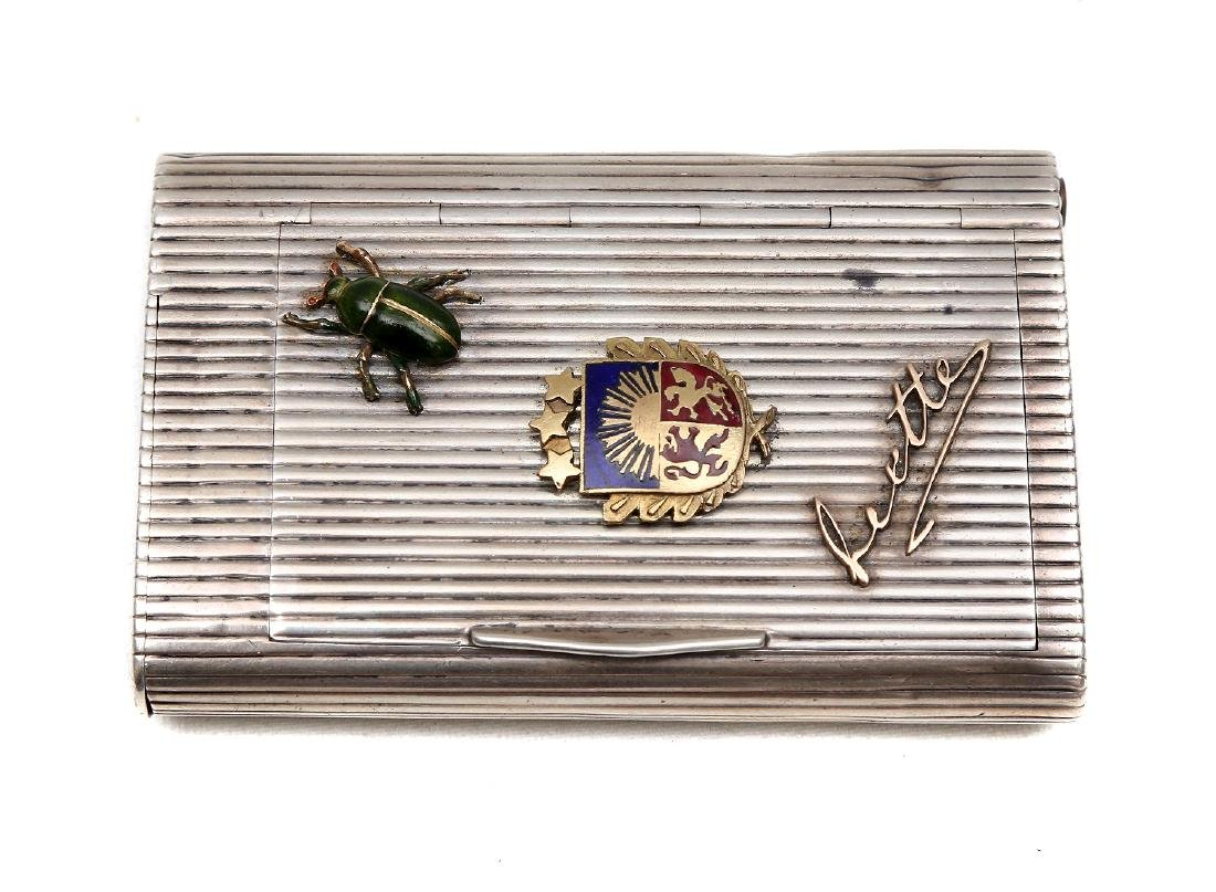 RUSSIAN SILVER CIGARETTE CASE WITH GOLD AND ENAMELED