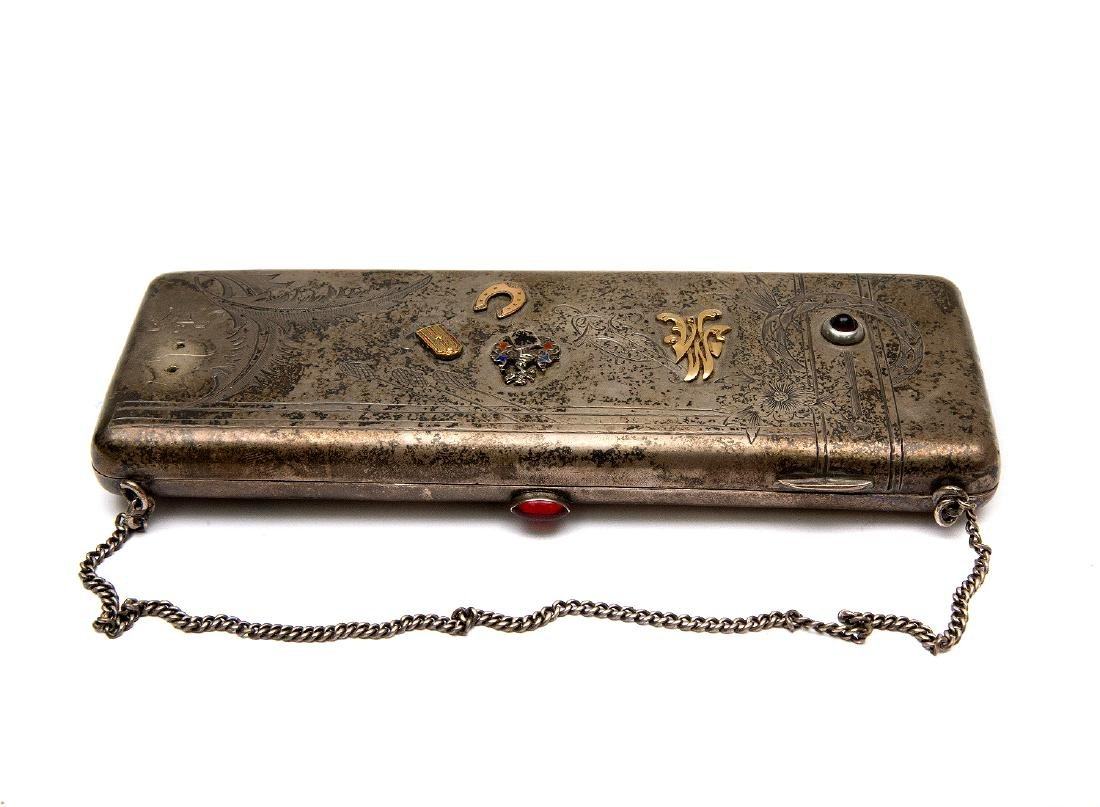 RUSSIAN SOLID SILVER PURSE WITH GOLD AND ENAMEL PINS
