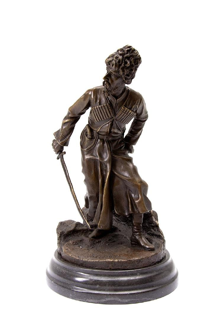 RUSSIAN BRONZE FIGURE OF COSSACK WITH SABER