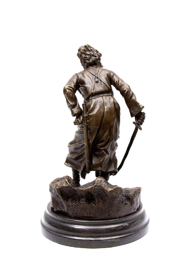 RUSSIAN BRONZE FIGURE OF COSSACK WITH SABER - 2