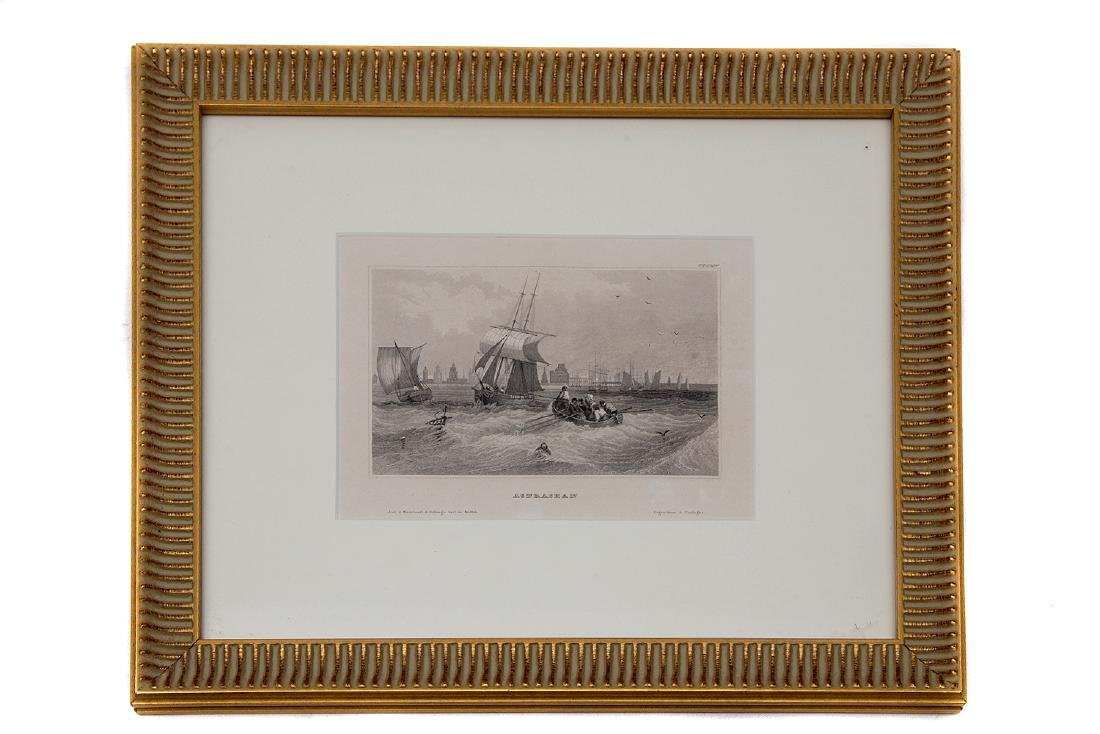 ETCHING OF ASTRAKHAN RIVER BANK WITH SAIL SHIP, 19TH C.