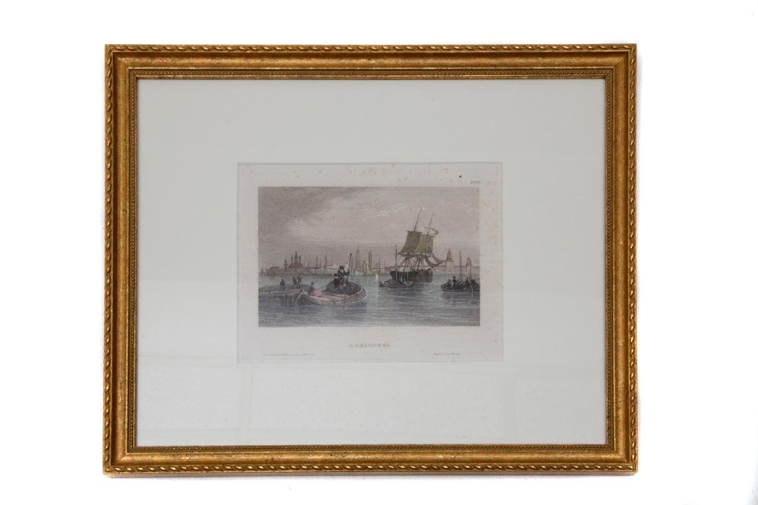 ETCHING OF ARKHANGELSK SEA PORT WITH SAIL SHIPS, 19TH