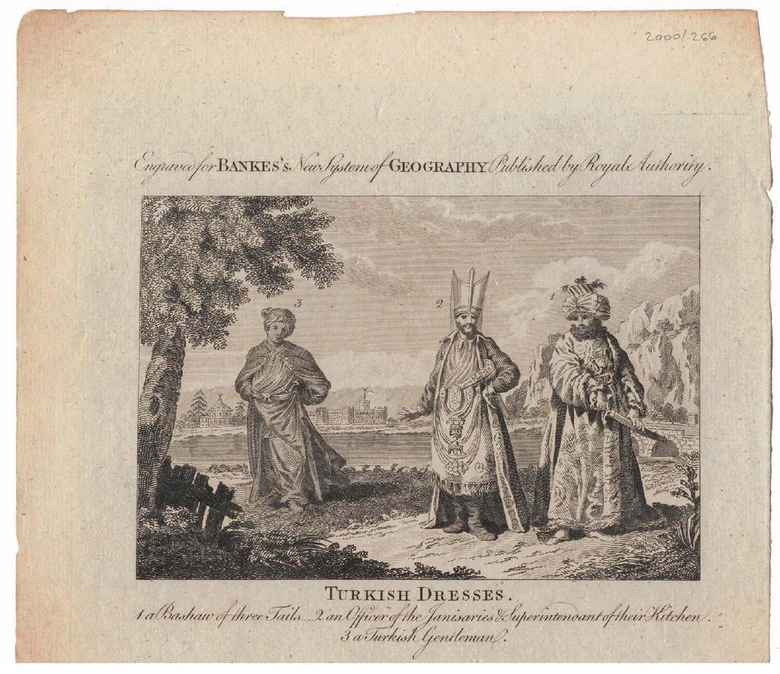 ANTIQUE TURKISH OTTOMAN DRESSES, ENGRAVING 19TH C.