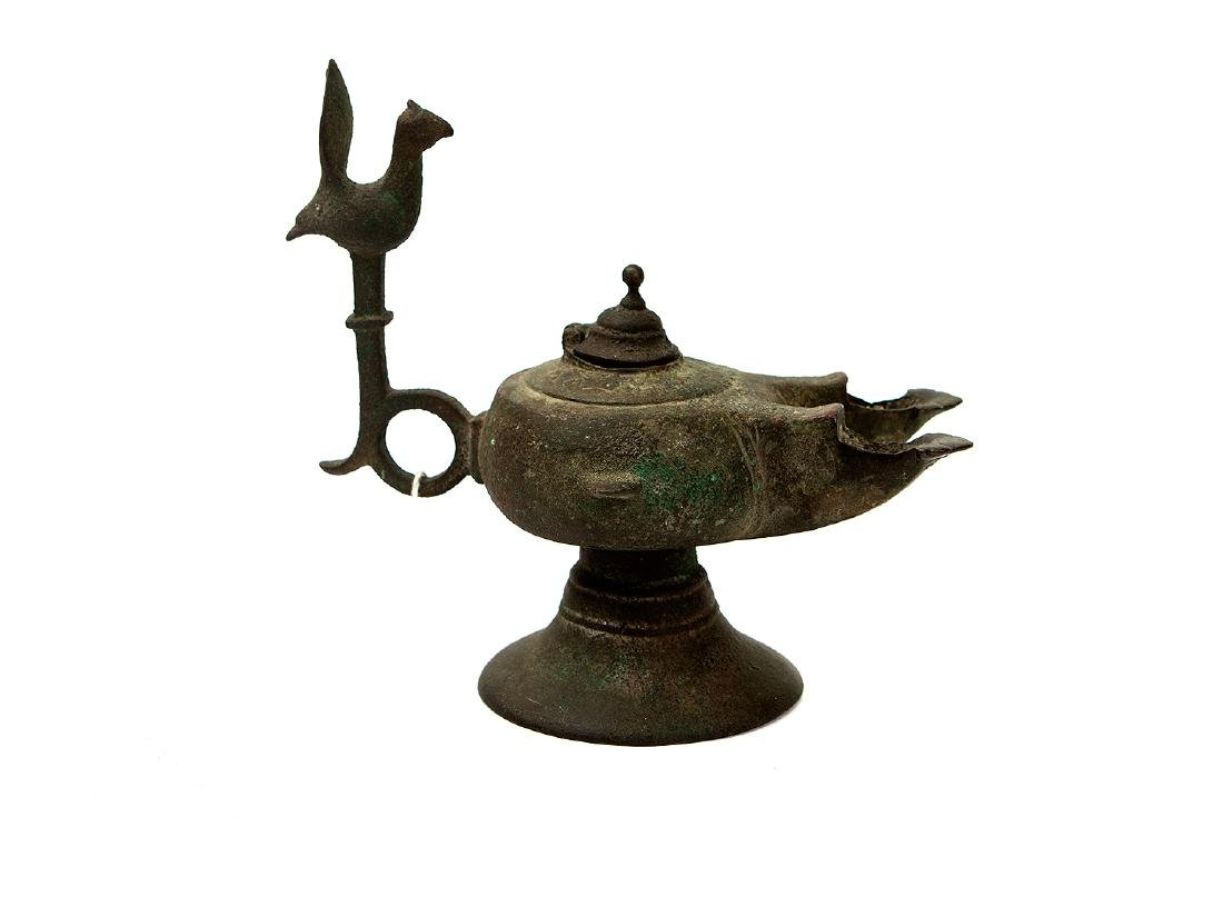 CAST BRONZE OIL LAMP, SELJUK PERIOD
