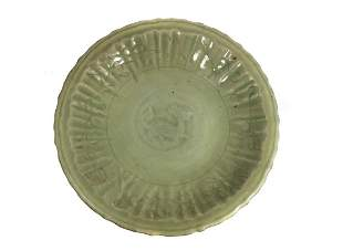 LARGE CELADON GREEN PLATE CHINA 18TH C