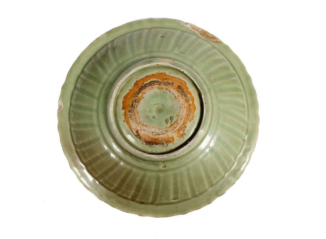 LARGE CELADON GREEN PLATE, CHINA, 18TH C. - 3