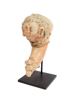ANCIENT ROMAN CLAY DRINKING CUP RHYTON II III C