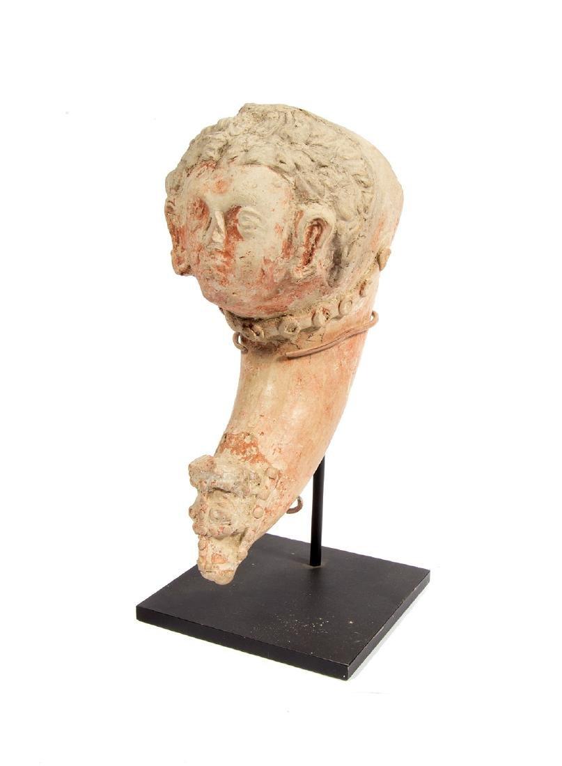 ANCIENT ROMAN CLAY DRINKING CUP (RHYTON), II - III C.