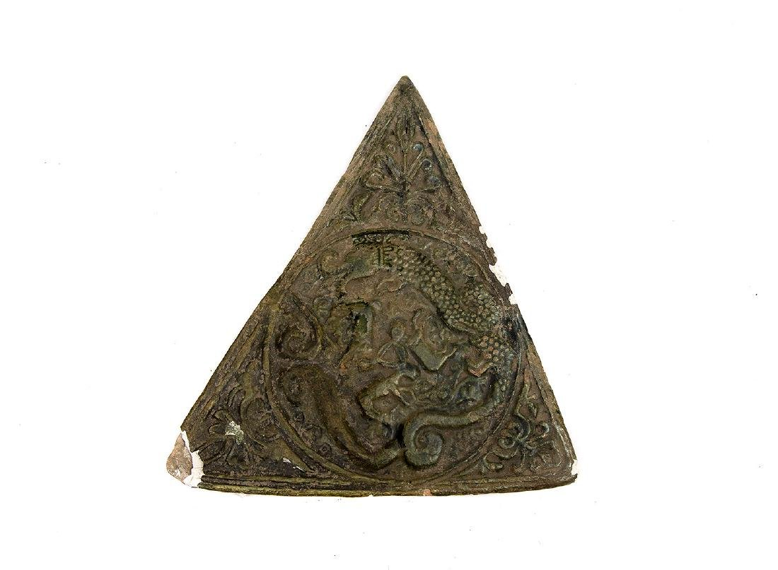 CLAY CERAMIC GLAZED TRIANGLE TILE, 12TH C.